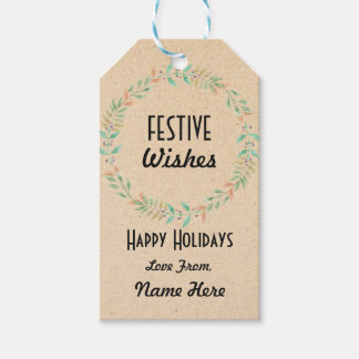 Festive Gift Tags Christmas Wreath Merry Xmas