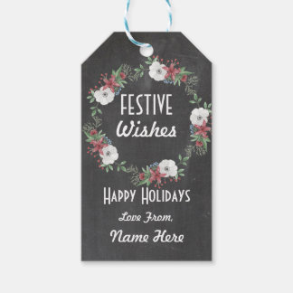Festive Gift Tags Christmas Wreath Merry Xmas Tag
