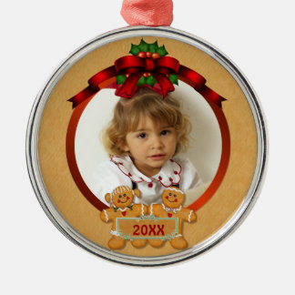 Festive Gingerbread Boy and Girl Silver-Colored Round Ornament