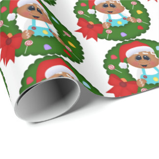 Festive gingerbread wreath party tiled wrap wrapping paper