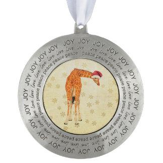 Festive Giraffe  Ornament Round Pewter Christmas Ornament