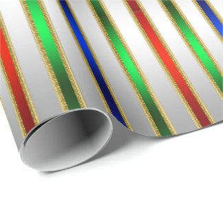 Festive Glam Stripes Red Blue Green Silver Wrapping Paper