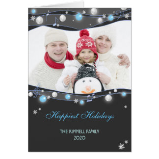 Festive Glittering Lights Christmas Family Photo Card