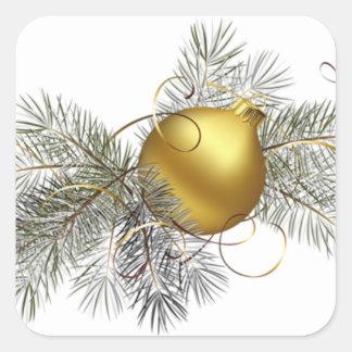 Festive Gold Decoration Square Sticker