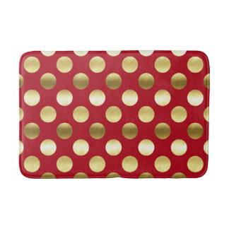 Festive Gold Foil Polka Dots Red Bath Mat