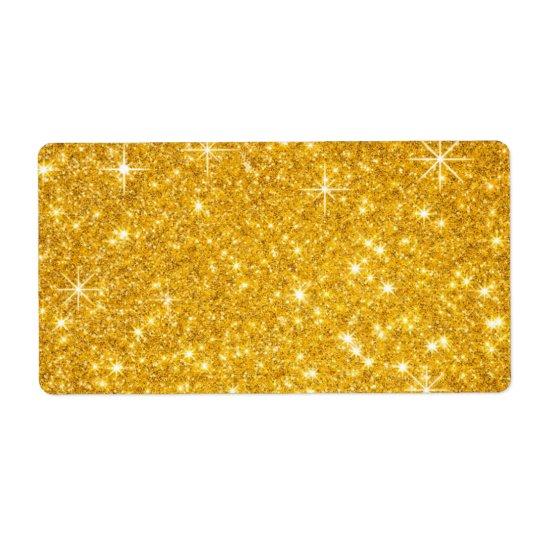festive gold glitter shipping label