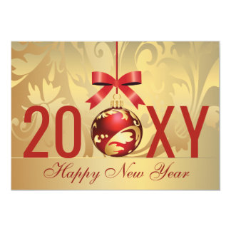 festive gold red Business new year card