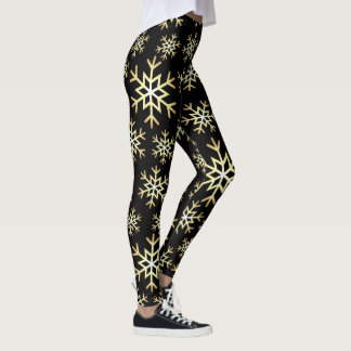 Festive gold snowflake pattern leggings