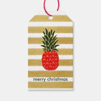 Festive Golden Christmas Pineapple Gift Tags