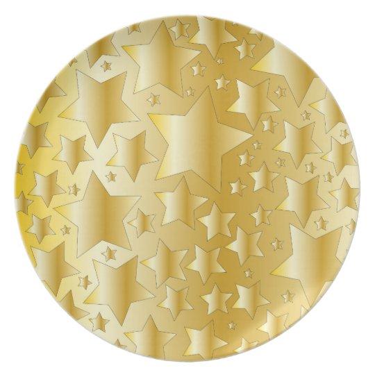 Festive golden star design plate