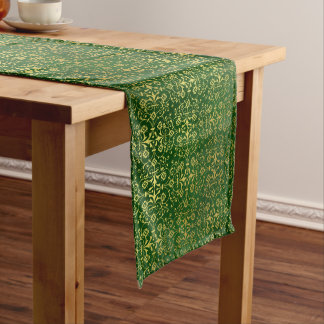 Festive Green and Gold Damask Table Runner