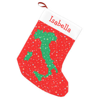 Festive Green and Red Map of Italy Snowflakes Small Christmas Stocking