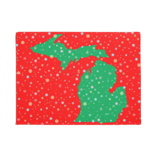 Festive Green and Red Map of Michigan Snowflakes Doormat