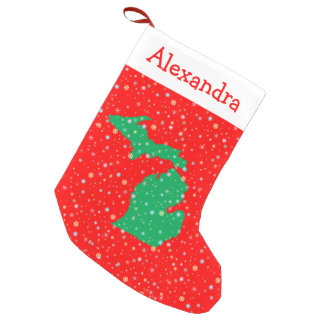 Festive Green and Red Map of Michigan Snowflakes Small Christmas Stocking