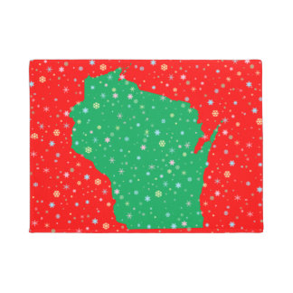 Festive Green and Red Map of Wisconsin Snowflakes Doormat