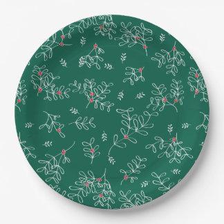 Festive Green Ditsy Mistletoe Paper Plates 9 Inch Paper Plate