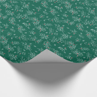 Festive Green Ditsy Mistletoe Wrapping Paper