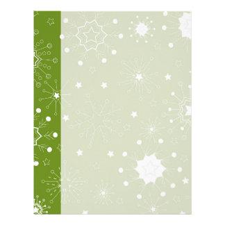 Festive Green Holiday Snowflakes Letterhead Template