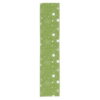 Festive Green Holiday Snowflakes Short Table Runner