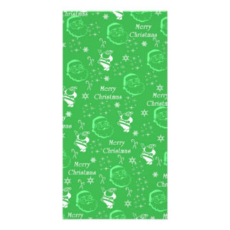 Festive Green Jolly Father Christmas Photo Cards
