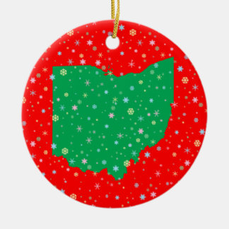 Festive Green Red Map of Ohio Snowflakes Ceramic Ornament