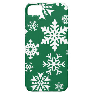 Festive Green Snowflakes Christmas Holiday Pattern iPhone 5 Cover