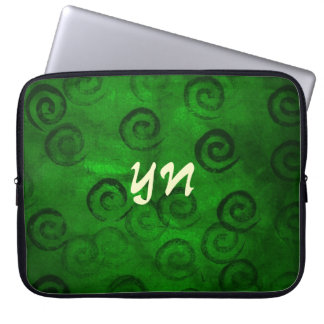 Festive Green Spirals Laptop Sleeve