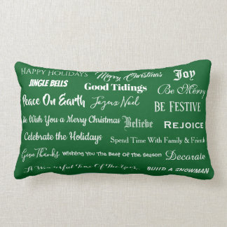 Festive Greetings On Front & Back - Lumbar Pillow