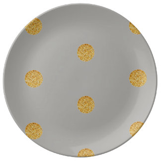 Festive Grey and Gold Porcelain Plates