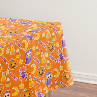 Festive Halloween Pattern With Pumpkins Candy Owls Tablecloth