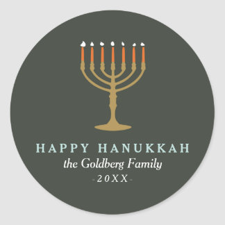 Festive Hanukkah Classic Round Sticker