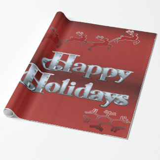 Festive Happy Holidays Glossy Wrapping Paper