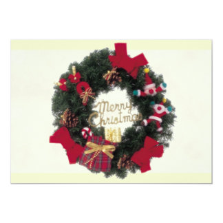 Festive Happy Holidays Merry Christmas Wreath Invi Personalized Announcement