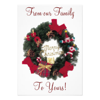 Festive Happy Holidays Merry Christmas Wreath Invi Personalized Invitation