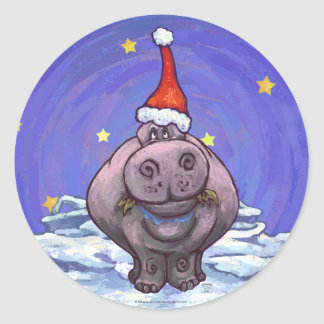 Festive Hippo Holiday Classic Round Sticker