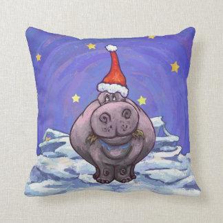 Festive Hippo Holiday Throw Pillow