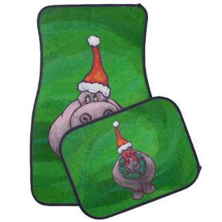 Festive Hippo On Green Car Mat