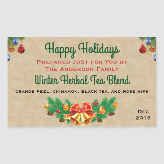 Festive Holiday Bell and Ornaments Food Gift Label