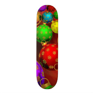 Festive Holiday Christmas Tree Ornaments Design Skateboard