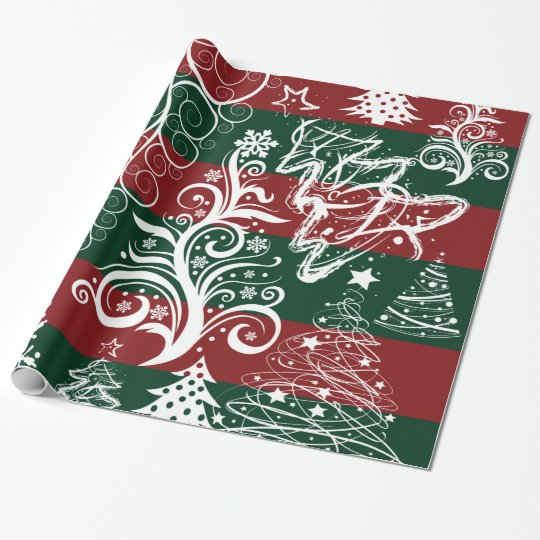 Festive Holiday Christmas Tree Red Green Striped