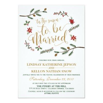 Elegant Christmas Wedding Red Invitation Zazzle Ca