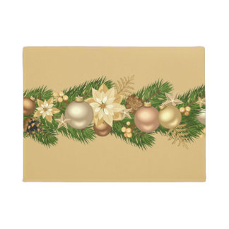 Festive Holiday Garland Door Mat