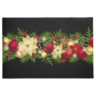 Festive Holiday Garland Door Mat