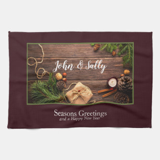 Festive Holiday Gift Photo Frame Personalize Kitchen Towel