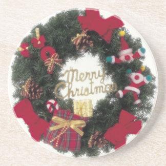 Festive Holiday Merry Christmas Wreath Coaster