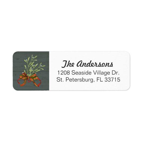 Festive Holiday Mistletoe and Ribbon Return Address Label