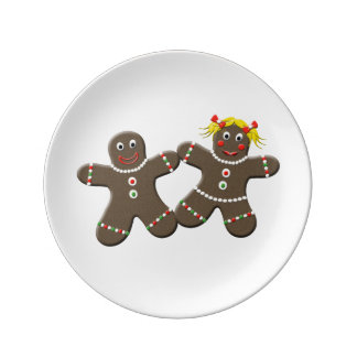 Festive Holiday Mr And Mrs Gingerbread Cookies Plate