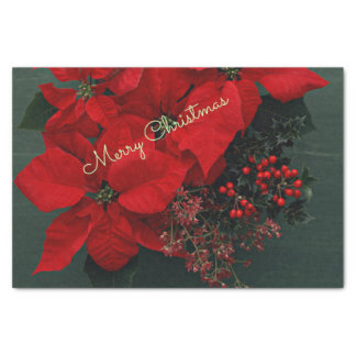 Festive Holiday Poinsettias, Merry Christmas Tissue Paper