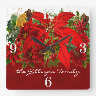 Festive Holiday Poinsettias with White Numbers Square Wall Clock