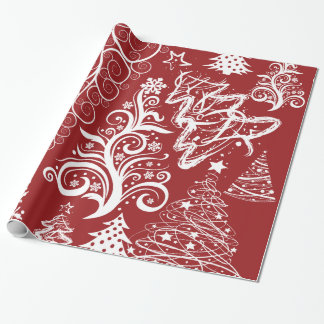 Festive Holiday Red Christmas Tree Xmas Pattern Wrapping Paper